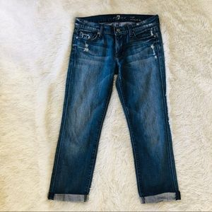 7 For All Mankind Distressed Straight Leg Crop